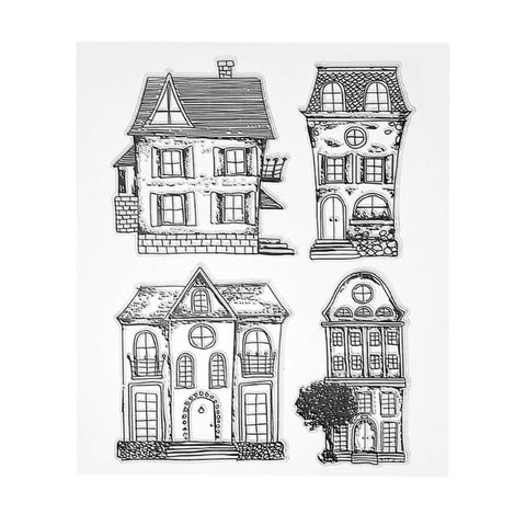 Set of four house stamps