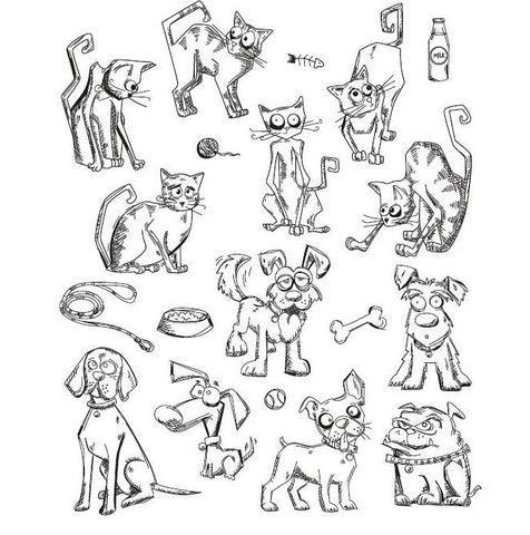 Cartoon cats and dogs stamp set