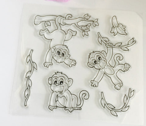 Playful monkey stamp and die set
