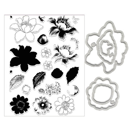 Beautiful Flowers and leaves multi-step stamp  and die set