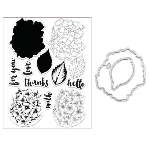 Hydrangea multi-step stamp  and die set