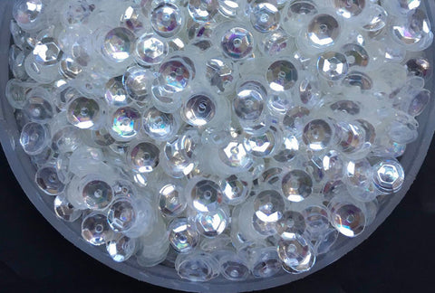 4mm PVC Round Cup Crystal Transparent Loose Sequins -- 6ml