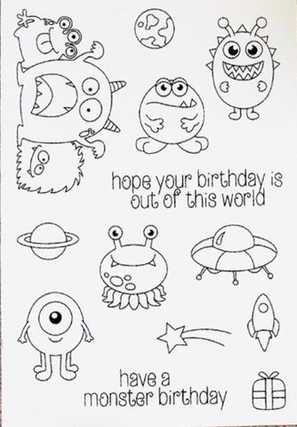 Monster Birthday Silicon Stamp Set