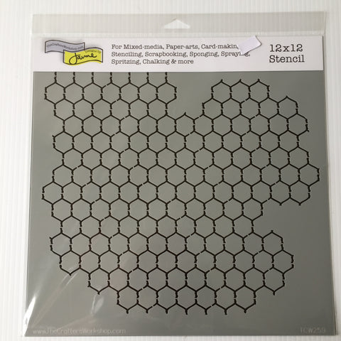 "Chicken wire reversed 12"" x 12"" Stencil/ Template"