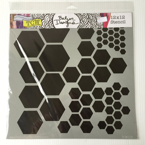 "Hexagons 12"" x 12"" Stencil"
