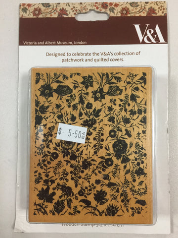 Docrafts V & A  Large Wooden Stamp- wildflower background