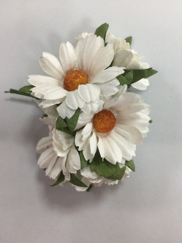 White Paper daisies-bunch of 5 - 4cm