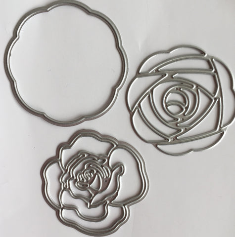 Set of three Rose flower dies