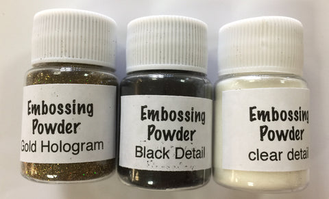 Embossing Powder Essentials Set 1 - Detail Black, Detail Clear, Hologram Gold