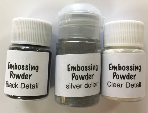 Embossing Powder Essentials Set 2 - Detail Black, Detail Clear, Silver Dollar
