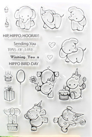 Elephant and hippo Birthday  Stamp Set