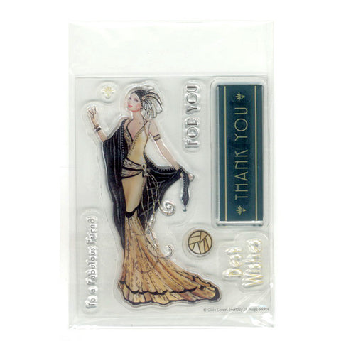 Art Deco Lady Clear Set Stamp
