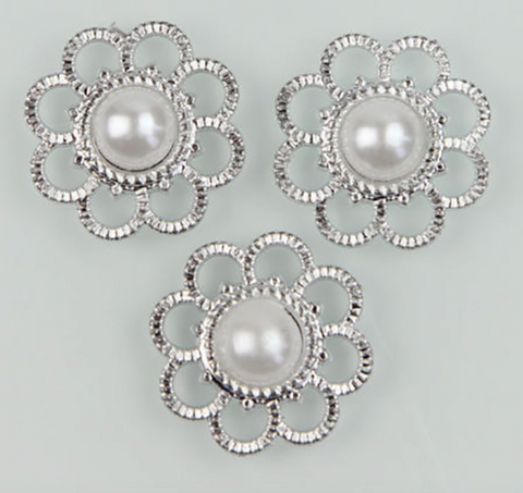 Flatback Pearl and Silver Button Flower