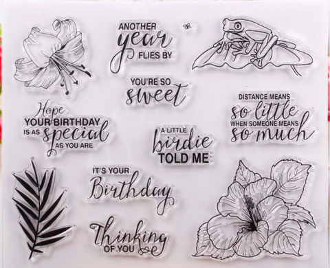 Hibiscus and Sentiments set of 11 stamps