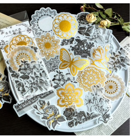 Deco Stickers - Gold and Black florals, doilies and lace - 60 pieces