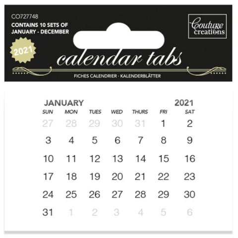 2021 Couture Creations Calendar Tabs