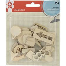 Imaginisce  - Happy Traveler Wood Veneer Shapes 24/Pkg-Icons