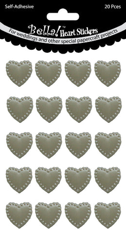 HEART STICKERS WHITE- 20 pieces