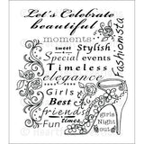 "Heartfelt Creations Cling Rubber Stamp Set 5""X6.5"" Fashionista"