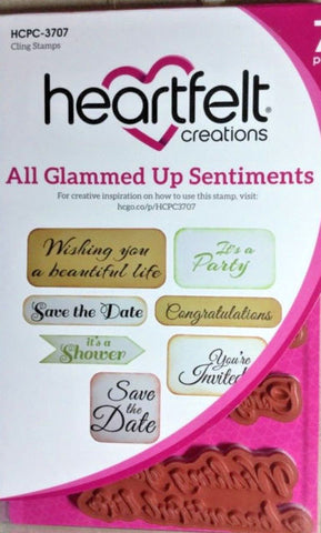 "Heartfelt Creations Cling Rubber Stamp Set 5""X6.5"" All Glammed Up Sentiments"