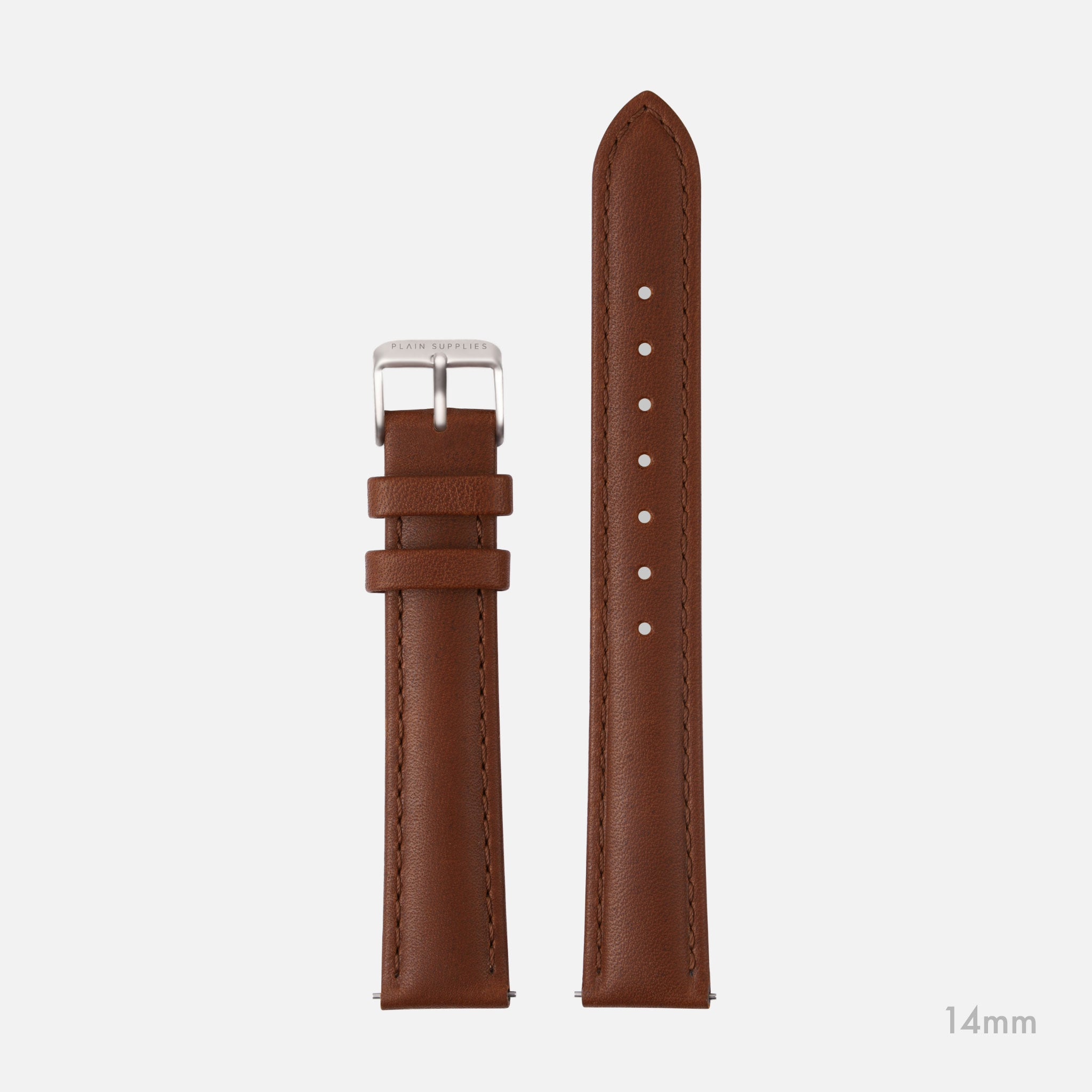 14/18mm Mickey Stitched Leather Straps - Brown