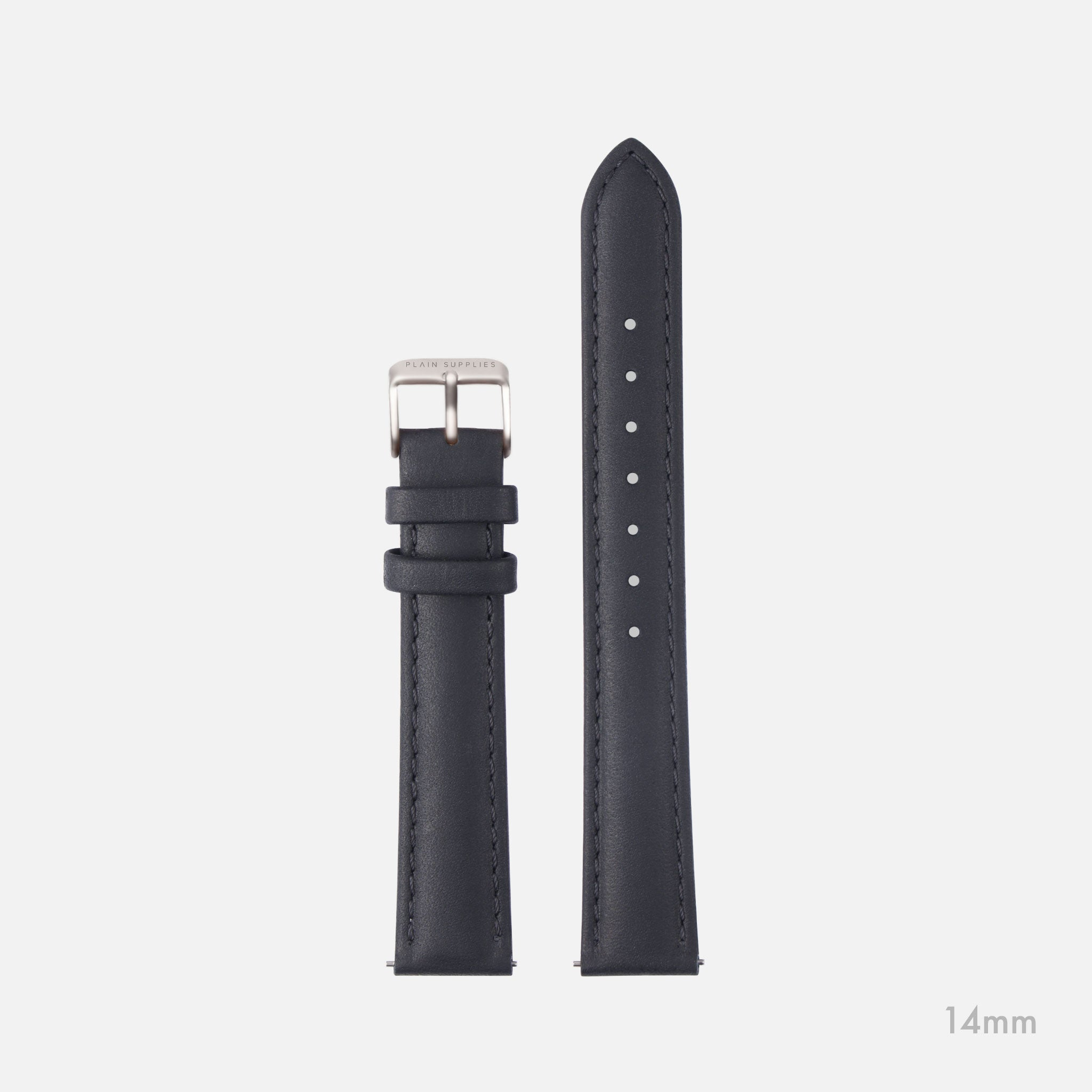 14/18mm Mickey Stitched Leather Straps - Grey