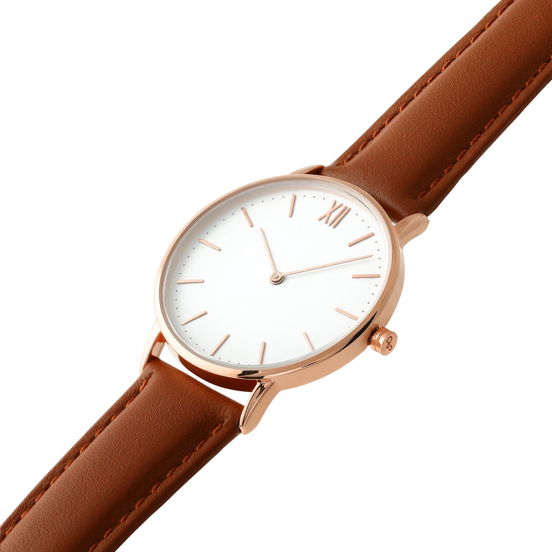 Signature 36 Rose Gold – Brown Leather
