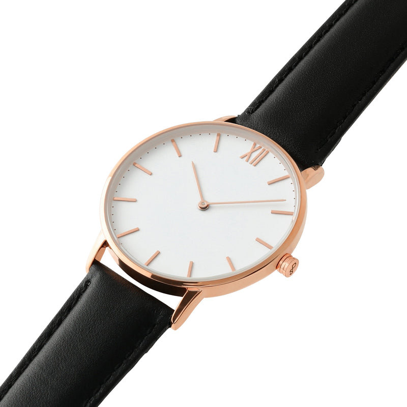 Signature 40 Rose Gold – Black Leather