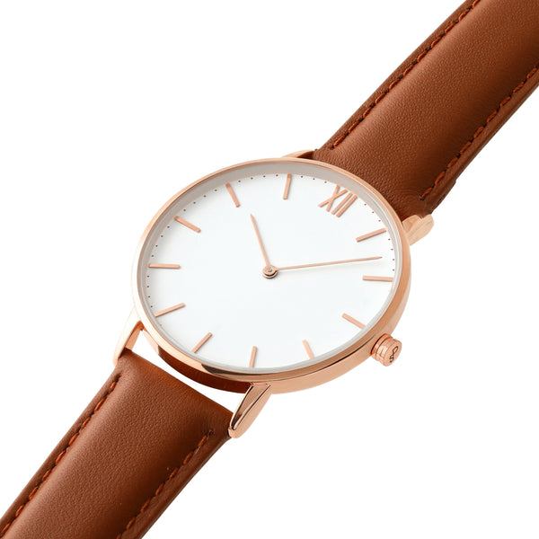 Signature 40 Rose Gold – Brown Leather