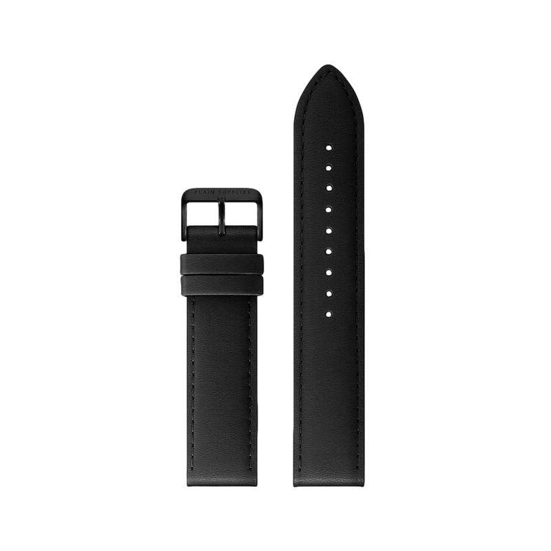 18mm Straight Stitched Leather Strap - Black