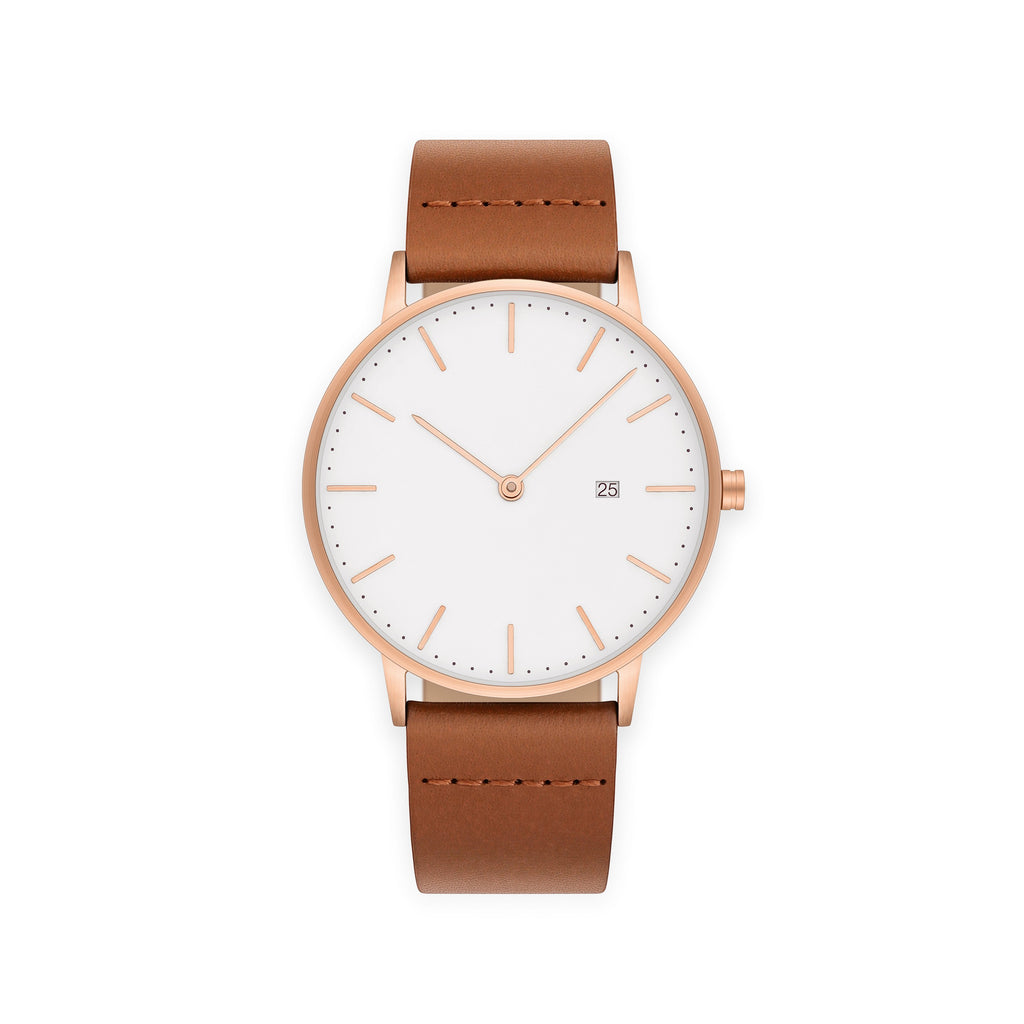The Everyday Watch in Rose Gold – Brown Leather