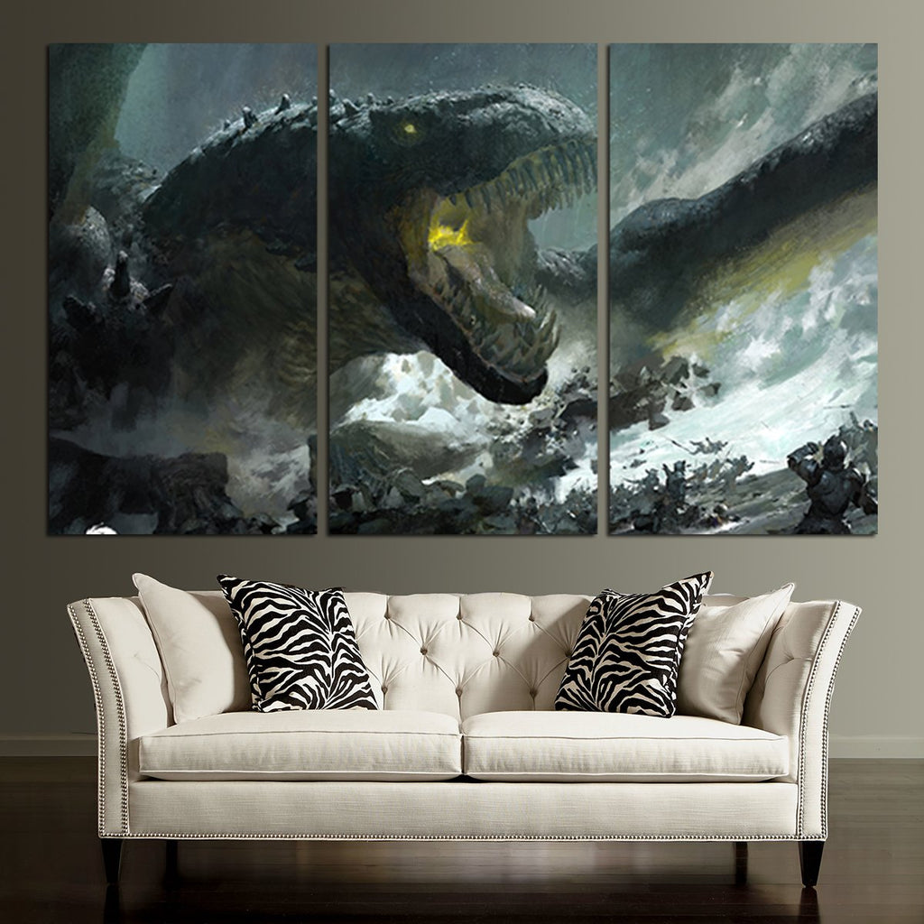 ... 3 Panel Guild Wars Giant Dragon Wall Art Canvas ...