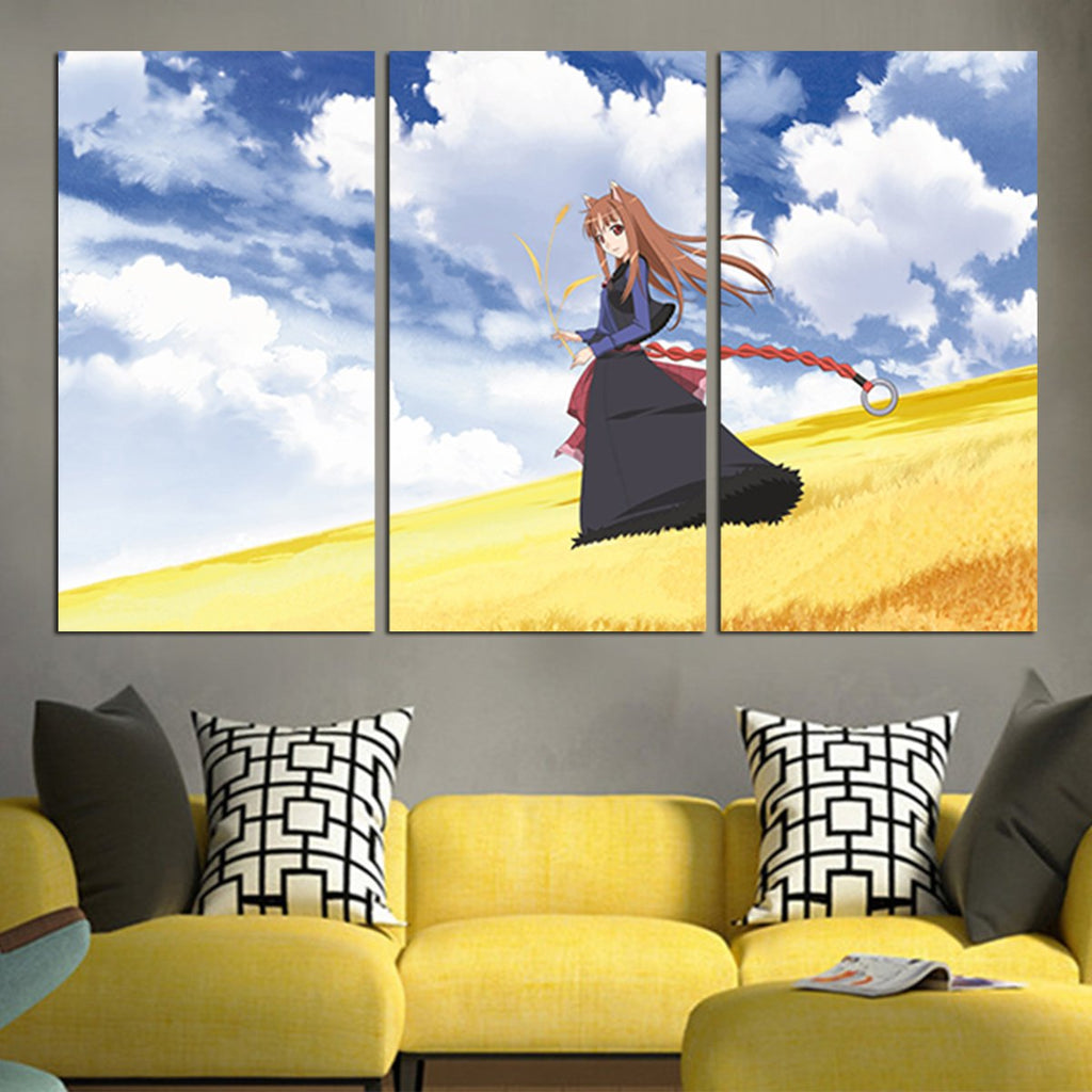 3 Panel Spice And Wolf Holo Grassland And Sky Wall Art Canvas – AIO Tee