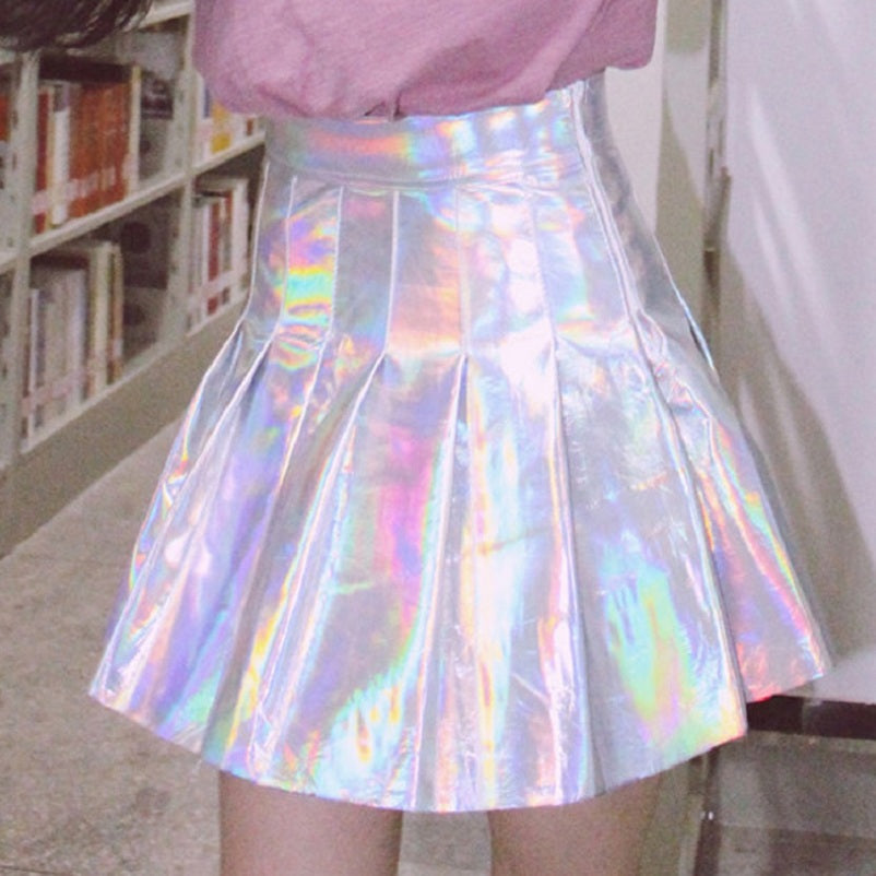 215478843 ... Space Cat Shirts - Holographic Rainbow Pleated Aesthetic Skirt NEW 2018  - aesthetic clothing ...