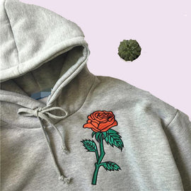Embroidery roses aesthetic sweatshirt