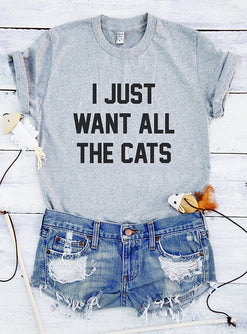 "Space Cat Shirts - ""I Just Want all the Cats"" Aesthetic T-Shirt - aesthetic clothing"