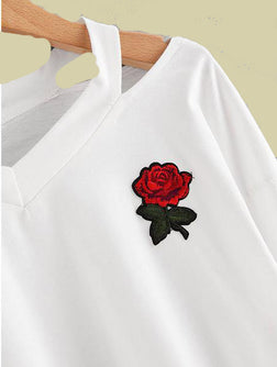 Rose Embroidered Crop Top Aesthetic sweatshirt