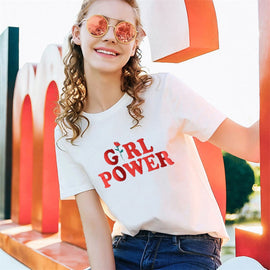 Space Cat Shirts - Girl Power letter Red Rose Printed Aesthetic t-shirt - aesthetic clothing