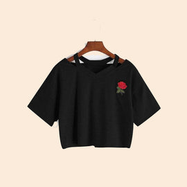 Rose Short Cotton Sleeve Aesthetic Crop Top