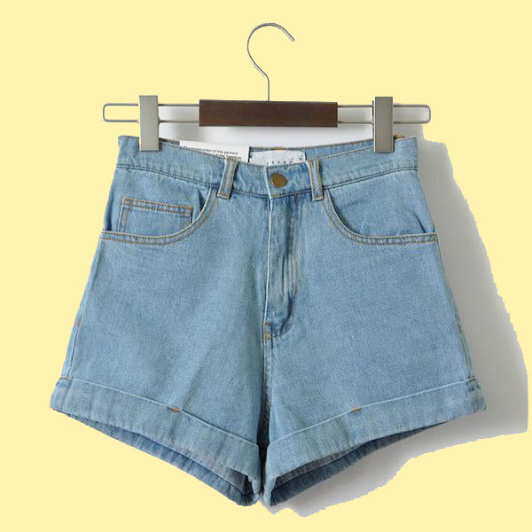 859901a2270 Aesthetic clothing - Denim Shorts Vintage High Waist Cuffed Jeans ...