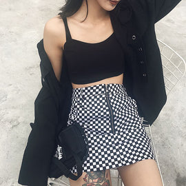 Space Cat Shirts - GRUNGE BLACK WHITE CHECKERED AESTHETIC SKIRT - aesthetic clothing