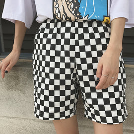 Space Cat Shirts - Checkerboard Plaid Elastic Waist Aesthetic Skate Shorts - aesthetic clothing