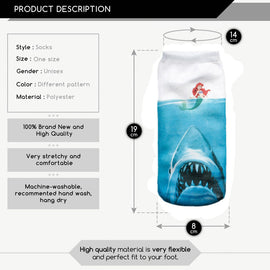 Space Cat Shirts - Jaws socks little mermaid full print aesthetic socks - aesthetic clothing