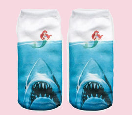 Jaws socks little mermaid full print aesthetic socks