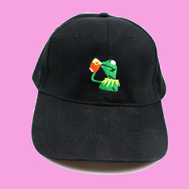 Kermit The Frog Sipping Tea Baseball Aesthetic Cap