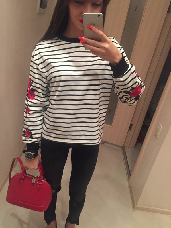 Aesthetic Clothing Vintage Embroidered Rose Striped