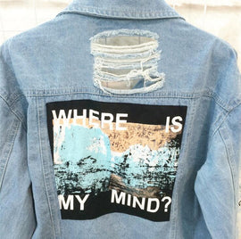"Space Cat Shirts - ""Where is my mind"" Aesthetic Denim Jacket - aesthetic clothing"