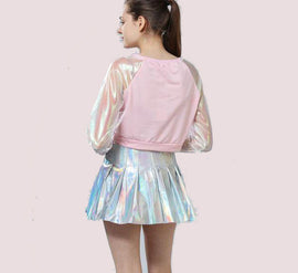 Laser Transparent Long Sleeve Patchwork Aesthetic Crop Top