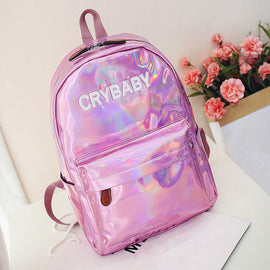 Space Cat Shirts - Embroidery Crybaby Hologram Laser Aesthetic Backpack - aesthetic clothing