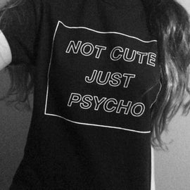 Space Cat Shirts - NOT CUTE JUST PSYCHO AESTHETIC T Shirt - aesthetic clothing